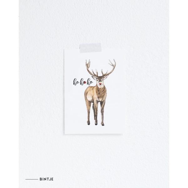 Ansichtkaart Kerst Rudolph - 10 stuks