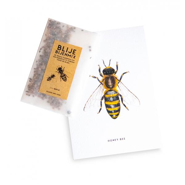 Blije bijenmix met kaart - 10 stuks