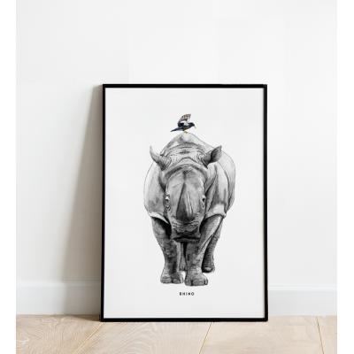 Poster Neushoorn B: 30x40 - 6 stuks