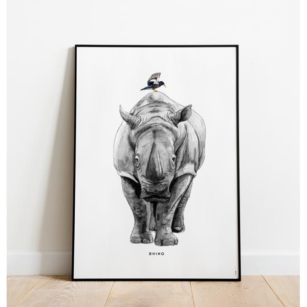Poster Neushoorn C: 50x70 - 6 stuks OP=OP
