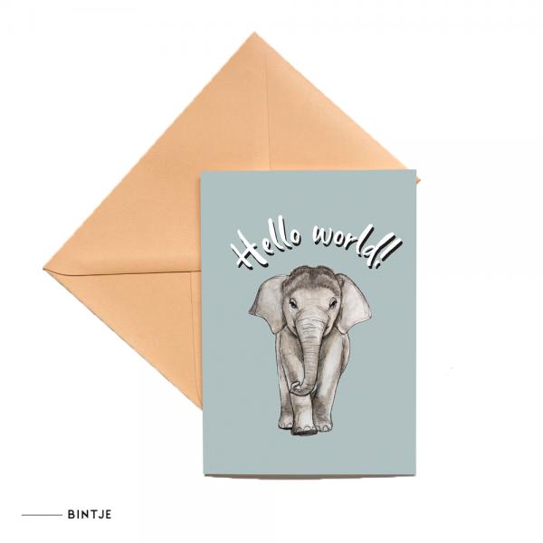 Dubbele Ansichtkaart Baby olifant - 10 stuks