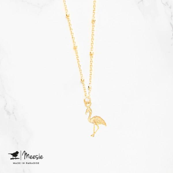 Ketting: Shortie Flamingo bedel goud op zilver - 3 stuks