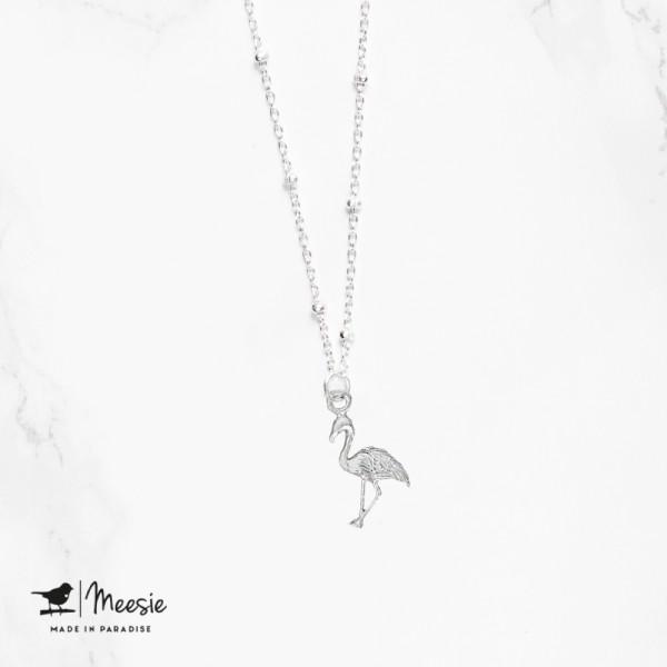 Ketting: Shortie Flamingo bedel zilver - 3 stuks