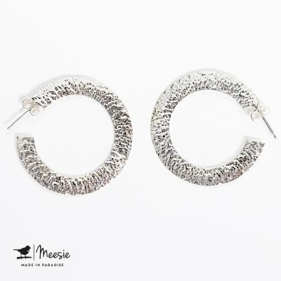 Oorbellen Singapore gehamerd medium zilver - 3 sets