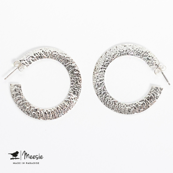 Oorbellen Princess gehamerd medium zilver - 3 sets