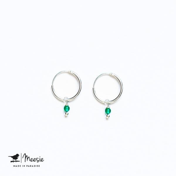 Oorbellen Groene Kwarts zilver