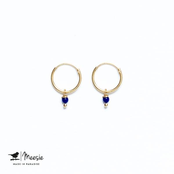 Oorbellen Lapis Lazuli mini goud op zilver