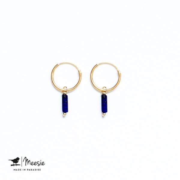 Oorbellen Lapis Lazuli staafje goud op zilver