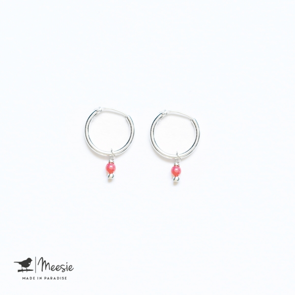 Oorbellen Roze Koraal zilver
