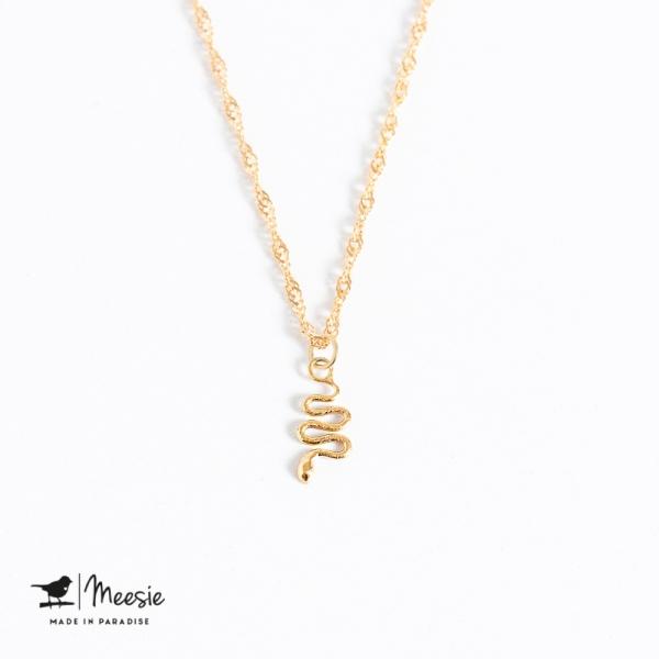 Ketting: Twisted met een Slangen bedel goud op zilver - 3 stuks