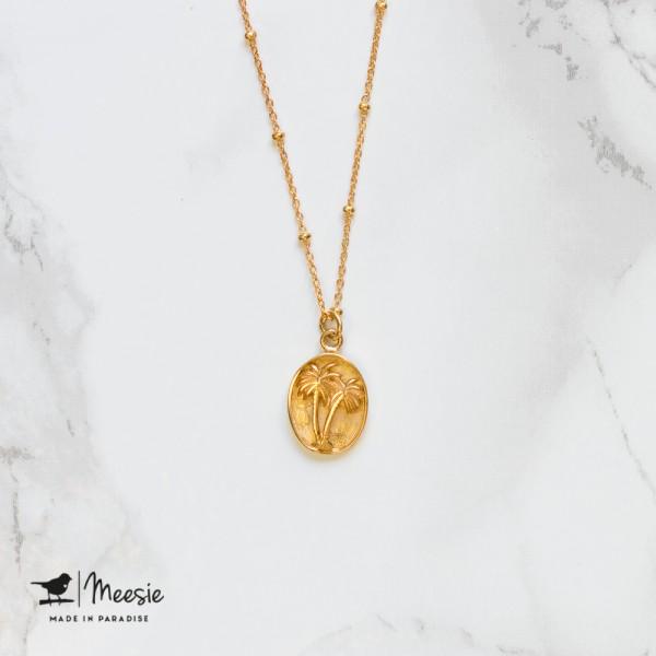 Ketting: Medallion Palmboom goud op zilver - 3 stuks