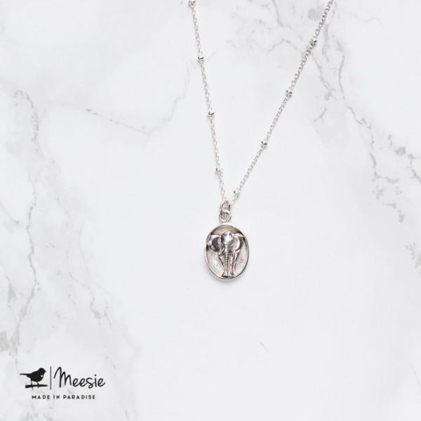 Ketting: Medallion Olifant zilver - 3 stuks
