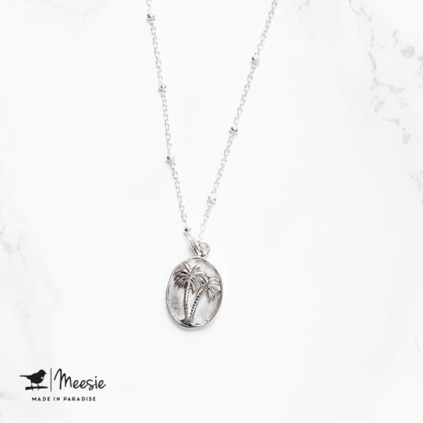 Ketting: Medallion Palmboom zilver - 3 stuks