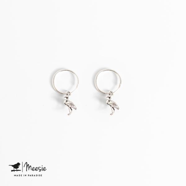 Oorbellen Flamingo zilver