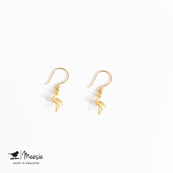 Oorbellen Hangers Flamingo goud op zilver - 3 sets