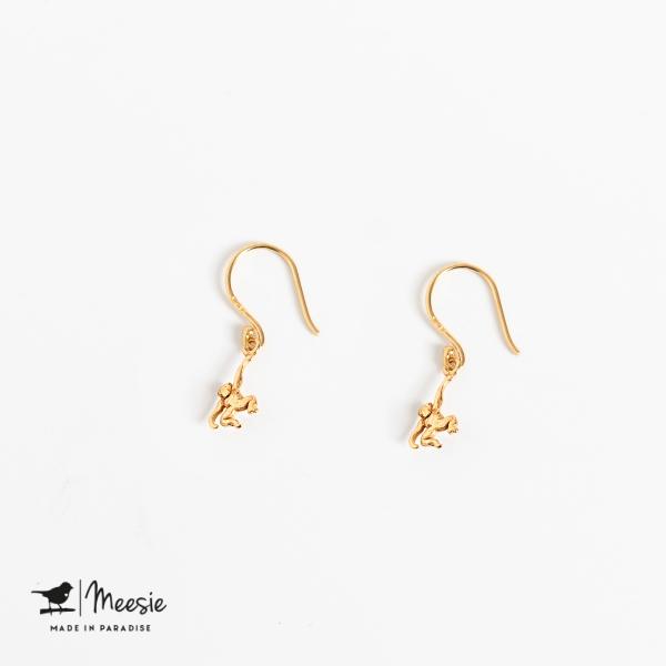 Oorbellen Hangers Aap goud op zilver - 3 sets
