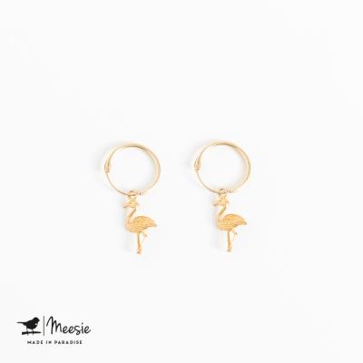 Oorbellen Flamingo goud op zilver