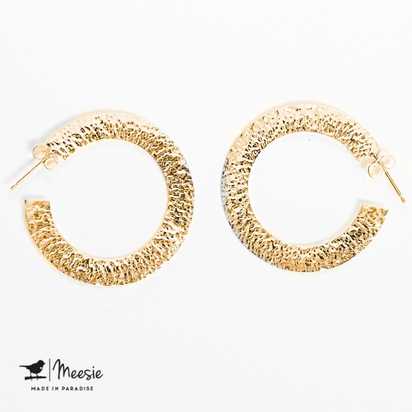 Oorbellen Princess gehamerd medium goud op zilver - 3 sets