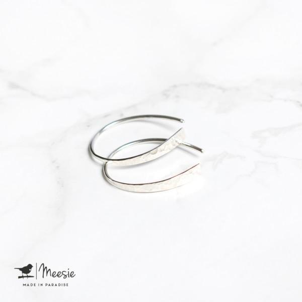 Oorbellen Grace gehamerd zilver - 3 sets