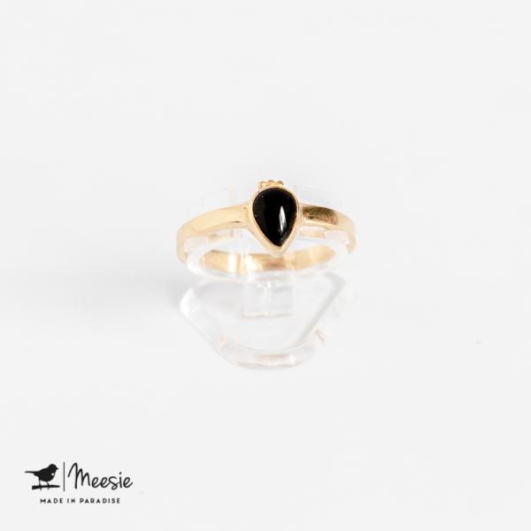 Ring druppel Onyx edelsteen goud op zilver