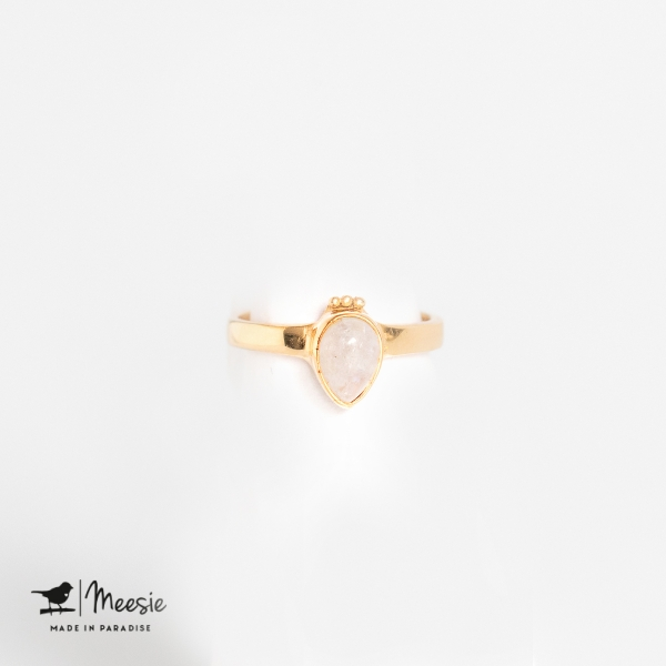Ring druppel Maansteen edelsteen goud op zilver