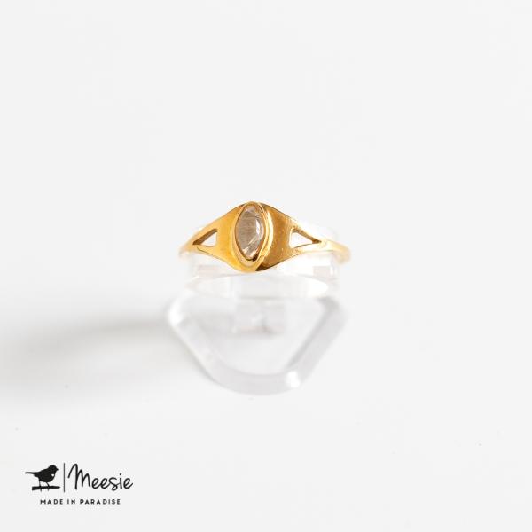 Ring Empress Maansteen edelsteen goud op zilver