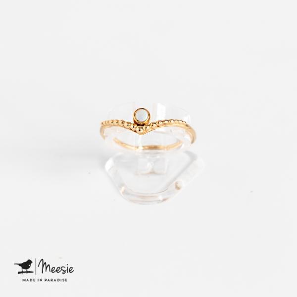 Ring Grace Opaal edelsteen goud op zilver