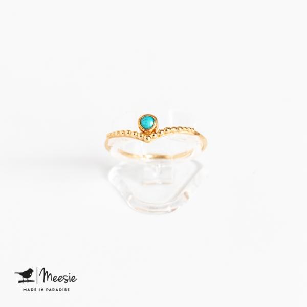 Ring Grace Turquoise edelsteen goud op zilver