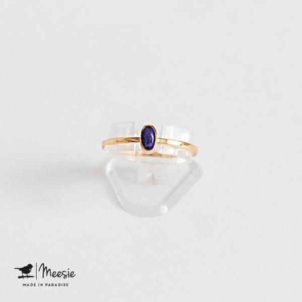 Ring ovale Lapis Lazuli edelsteen goud op zilver