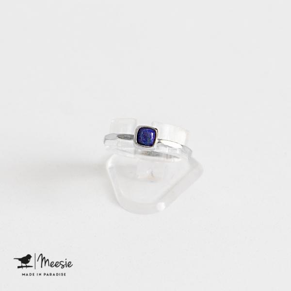Ring vierkante Lapis Lazuli edelsteen zilver