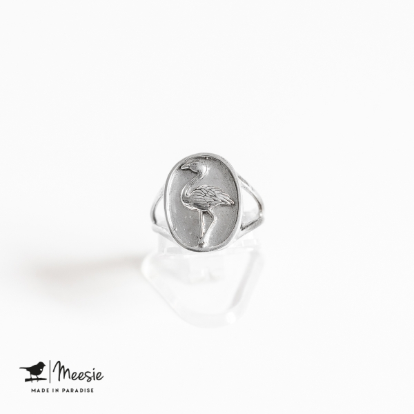 Ring Zegelring Flamingo zilver