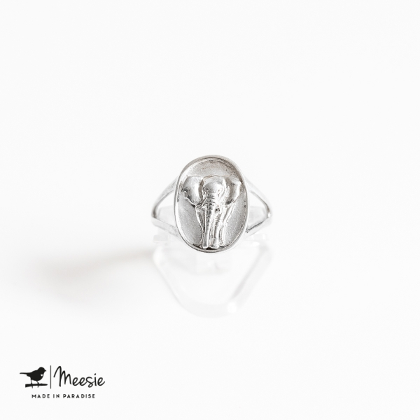 Ring Zegelring Olifant zilver