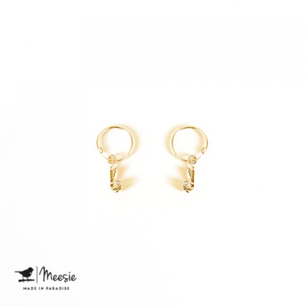 Oorbellen: Garnaal goud op zilver - 3 paar