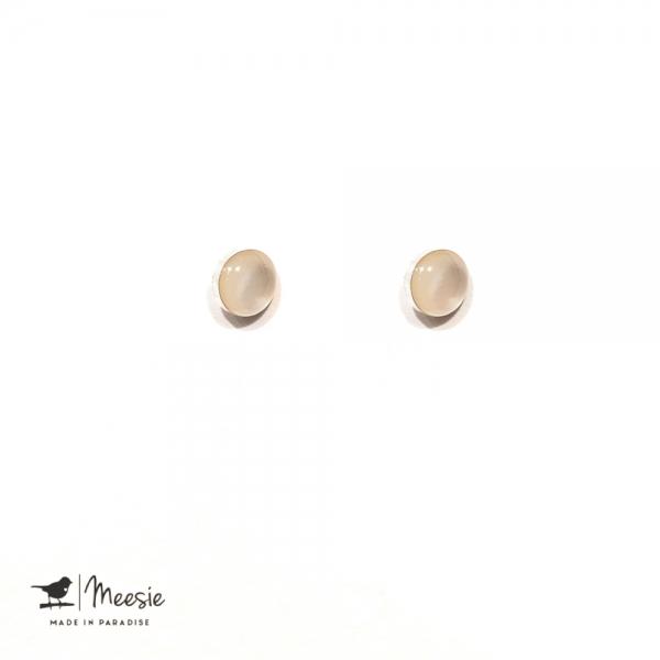 Oorbellen Studs Maansteen zilver - 3 sets