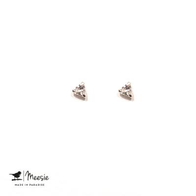 Oorbellen Studs Bergkristal zilver - 3 sets