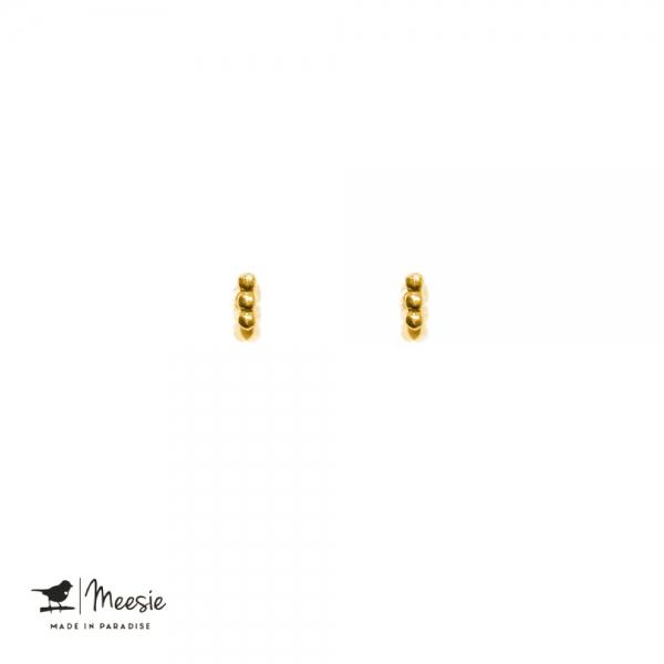 Oorbellen Studs Bar Dots goud op zilver - 3 sets
