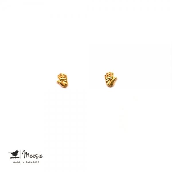 Studs: Handlezer goud op zilver - 3 paar