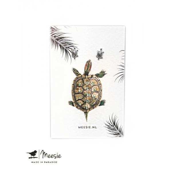 Oorbellen Studs schildpadjes zilver - 3 sets