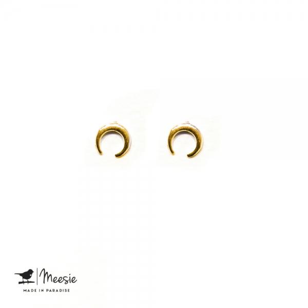 Oorbellen Studs Maantjes goud op zilver - 3 sets