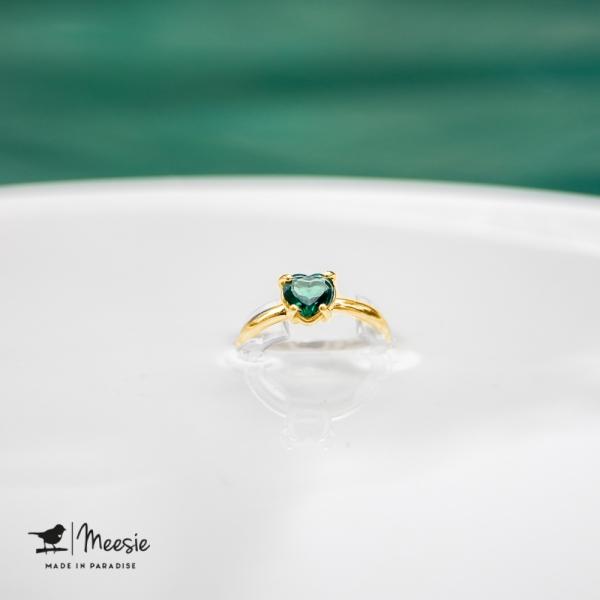 Ring Groene Kwarts Hart edelsteen goud op zilver - 3 stuks