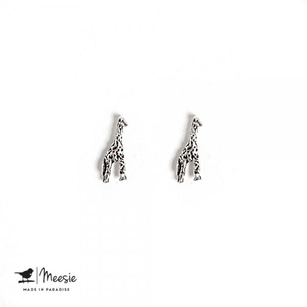 Oorbellen Studs giraf zilver - 3 sets