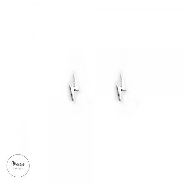 Studs: Mini Bliksemschicht zilver - 3 paar