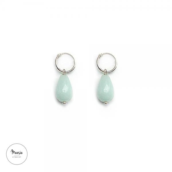 Oorbellen: Aquamarijn zilver - 3 paar