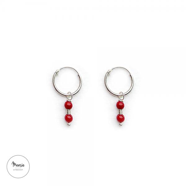 Oorbellen: red Bamboe Koraal zilver - 3 paar