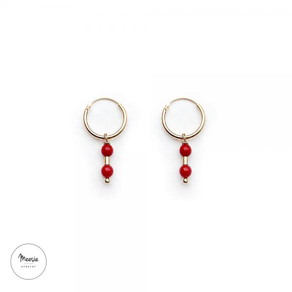 Oorbellen: rode Bamboe Koraal goud op zilver - 3 paar