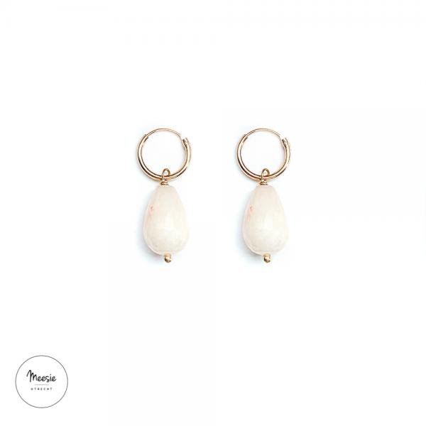 Oorbellen: Roze Jade goud op zilver - 3 paar