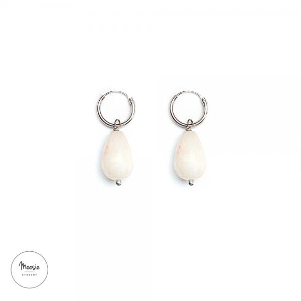 Oorbellen: Roze Jade zilver - 3 paar
